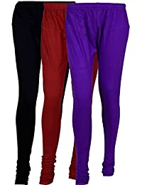 Fashion And Freedom Women's Cotton Leggings Pack Of 3_FFCL_BMV_BLACK-MAROON-VIOLET_FREESIZE