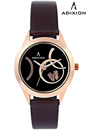 Adixion Black Dial Analog Synthetic Leather Watch For Women's