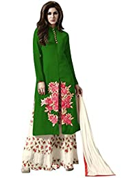 New Design Green & Cream Embroidered & Heavy Printed Plazzo Suit