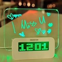 HIGHSTAR Model A Fluorescent Message Board Alarm Clock Digital Calendar Thermometer Fluorescent Light-blue