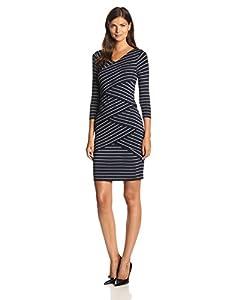 Vince Camuto Women's 3/4 Sleeve Arctic Stripe Bandage Dress, Navy Stone, X-Large