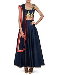Navy Blue Anarkali Suit Adorn In Zari And Kundan Embroidery