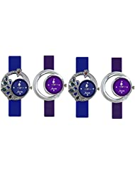 Frida Blue And Purple Designer Analog Casual Watch with Combo of 4 For Women and Girls