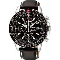 Seiko SSC009P3 Stainless Steel Solar Flight Quartz Alarm Chronograph Black Men Seiko SSC009P3