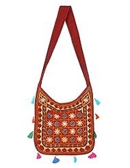 Rajrang Indian Designs Cotton Embroidered Circles Maroon Sling Bag - B015PK8LDM