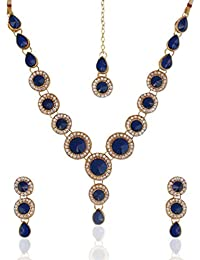 Dancing Girl Bridal Kundans Blue Metal Alloy Jewellery Sets With Necklace Earrings And Maang Tikka For Women