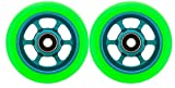 Metal Core 100mm Pro Scooter 2 Wheels with Abec 11 Bearings Installed Razor #gtp1 Green on Teal MADE IN USA!