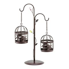 Koehler Home Decorative Hanging Birdcage Duo Figurine Enchanting Tabletop Centerpiece Candleholder