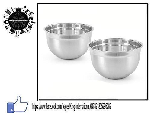 King International Stainless Steel Silver Elegent Bowl Deep German Bowl Set Of 2 Pcs