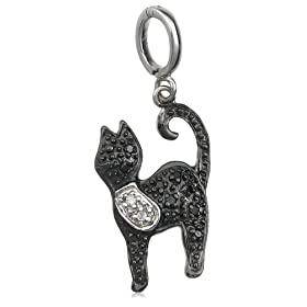 Sterling Silver Black and White Diamond Black Cat Charm