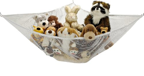 Jumbo Toy Hammock - Organize stuffed animals or children's toys with the mesh hammock. Looks great with any dcor while neatly organizing kids toys and stuffed animals. Expands to 5.5 feet - White
