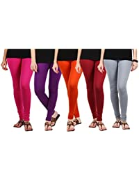 Jbk Arts Women Cotton Lycra Premium Leggings ( Pack Of 5 ) ( L5-GY-DP-M-PR-O, Multi-Coloured, )
