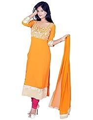 Tehzeeb Women's Faux Georgette Straight Salwar Suit