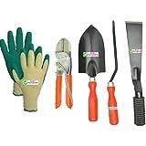"Easy Gardening - Garden Tools Kit (4Tools) + Knit Gardening Gloves - Trowel Big, 8"" Pruning Secateur, 2"" Khurpa..."