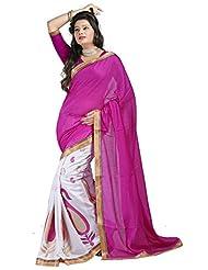 Prafful Magenta-White Jute Silk Saree With Unstiched Blouse