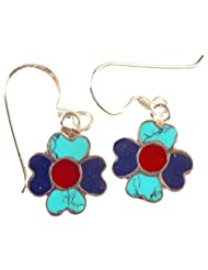 Exotic India Nepalese Multi-color Inlay Earrings - Sterling Silver