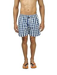 Nick&Jess Mens Blue & White Checkered 100% Cotton Boxer Shorts