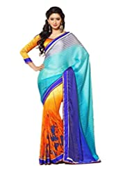 AG Lifestyle Multi Faux Georgette & Jacquard Pallu Saree With Unstitched Blouse ELG8002