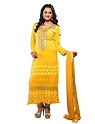 Vibes Fashionable Pure Georgette Unstiched Dress Materials,Free Size,Yellow,V188-1007C
