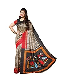Beige Colour Faux Bhagalpuri Semi Party Wear Paisley Printed Saree 13345