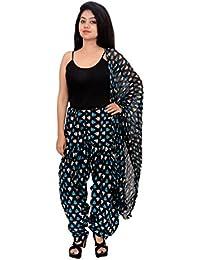 Fashion Store Women Printed Solid Cotton Full Multi-Coloured Patiala Salwar Dupatta Set(Free Size,Blue) - B074TH67VJ