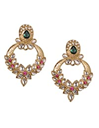 Young & Forever Beautiful Floral Kundan Designer Earrings Studded With Pearls & Austrian Diamonds By CrazeeMania...