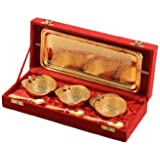 Gold Plated Multi Utility Brass Fruit Bowl Set Box Packing Set Of 7 Ps By Rajrang