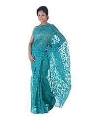 AB Women's Dhakai Jamdani Cotton Saree Traditional In Turkish Blue , Border And Pallu With Self Weave And Zari...