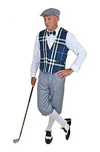 Edwardian Men's Pants Ultimate Knickers Outfit - Grey Knickers Blue Plaid Vest Grey Cap $149.99 AT vintagedancer.com