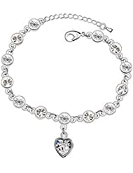 Young & Forever Diwali Gifts Special Diamante Heart Charm 18k White Gold Swarovski Elements AAA Grade CZ Zircon...