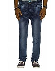 Jugend Dark Blue Skinny Fit Faded Stretchable Jeans For Men
