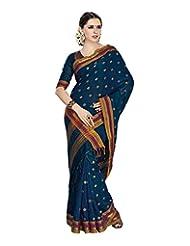Aadarshini Women's Cotton Saree (4023, Blue)