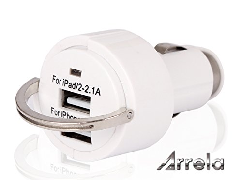 Arrela® 2-Port 5V/3.1A Dual USB Portable Rapid Universal Car Charger With Ring Pull - White