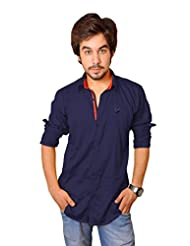 Nation Polo Club Men's 100% Cotton Lycra Coduroy Pattern Slim Fit Casual Navy Blue Color Shirt