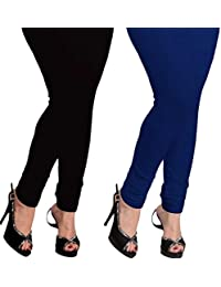Yolki Women's Cotton Lycra Leggings Combo Of Black And Royal Blue