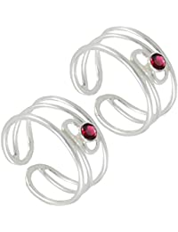 Silver ICE Spiral Shap Red CZ 925 Sterling Silver Toe Ring For Women