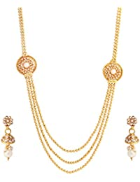 Abhijewels Gold Plated Studded With Pearls Necklace With Earrings For Women