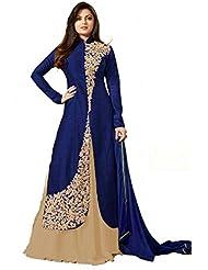 Royal Export Women's Bangalori Blue&Beige Anarkali Semi-Stitched Salwar Suit