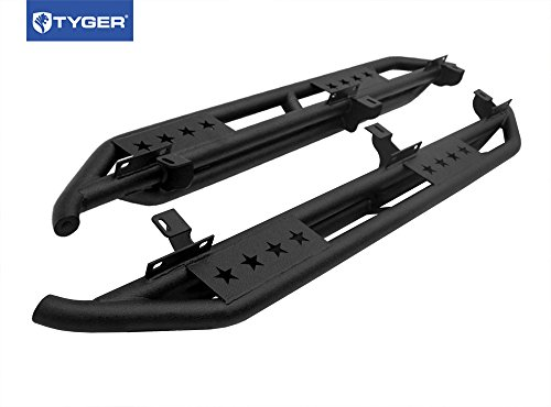 TYGER® Star Armor Textured Black Side Step Nerf Bars Running Boards Fit 2007-2016 Jeep Wrangler JK 4 Door