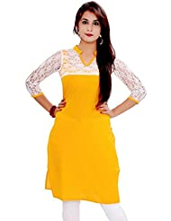 Ethnic For You Women's Yellow Cotton Plain Full Stiched Kurti (Size : XL)