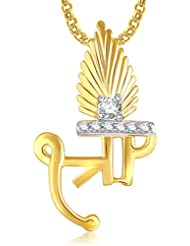 Shree God Pendant With Chain Lockets For Men And Women Gold Plated In American Diamond Cz GP315