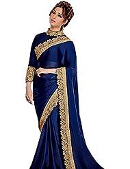 Women's Navy Blue Embroidered Pure Satin Silk Saree (Blue_Velvet_Border)