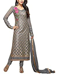 Dhawani Women's Georgette Party Wear Full Sleeves Unstitched Salwar Suit Material Grey Free Size