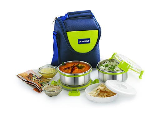 Magnus Fresh Meal Aura 2 Stainless Steel Containers Lunch Box With Clip Lock & Bag (2 Pcs Set)