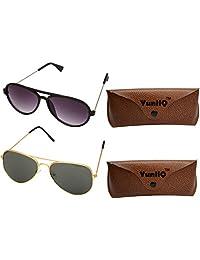 Combo Pack Of YuniiQ Black Aviator And Golden Black Aviator Sunglasses.