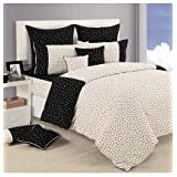 Swayam Printed Cotton Bedsheet With 2 Pillow Covers - King Size, Black And White (DBS XL-2302)
