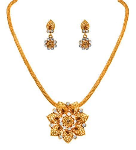 70666ad29 JFL - Traditional Ethnic One Gram Gold Plated Diamond Designer Pendant Set  For Women And Girls