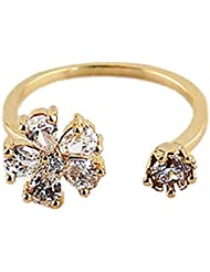 Young & Forever Daisy Zircon Crystal Exquisite Opening Gold Index Finger Ring For Women By CrazeeMania (R30019)