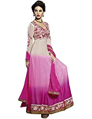 Alethia White & Pink Color Party Wear Embroidered Georgette Semi-Stitched Salwar Suit-ALG696DLD79AS