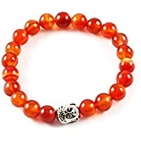 Eshoppee Natural Stone Buddha Bracelet With Silver Buddha Bead For Men And Women - B01LCL8ND6